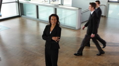 Time lapse shot with businesswoman standing still - stock footage
