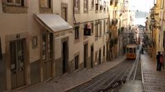 Lisbon europian city, Portugal, monuments, old streets, tram, transport Stock Footage