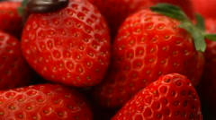 Chocolate onto strawberries, slow motion Stock Footage