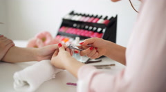 Manicure process in beauty salon, close up Stock Footage