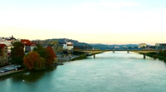 Sunset over Maribor and the river Drava Stock Footage