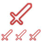 Red line sword logo design set Stock Illustration