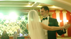 Wonderful young couple in love dancing their first valse in a restaurant Stock Footage