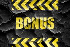 Grunge cracked Bonus sign with smooth lines - stock illustration