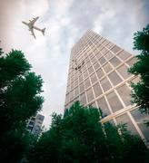 buildings with flying airplane and trees concept business and tourism background - stock photo