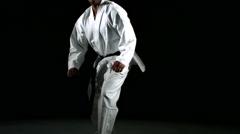 Karate kicks, slow motion - stock footage