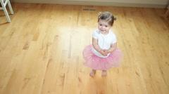 Young girl dancing like ballerina - stock footage