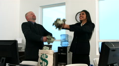 Businesspeople throwing money, slow motion Stock Footage