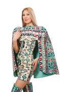 Model wearing dress with Azerbaijani carpet elements isolated on Stock Photos