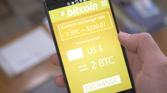 4K Bitcoin Converter in Dollar on Smartphone Mobile Wallet - stock footage