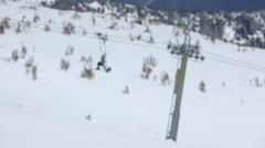 Santa Claus snowboarder waves to camera Stock Footage