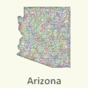 Arizona line art map Piirros