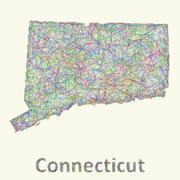 Connecticut line art map - stock illustration