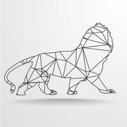Poly Wireframe Lion Stock Illustration