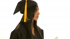 Young hispanic female student graduate Stock Footage