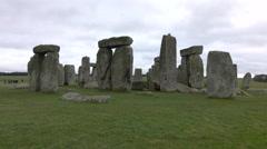 Tourists Stonehenge prehistoric monument Amesbury England 4K Stock Footage