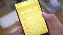 4K Bitcoin Wallet App on Smartphone Device - stock footage