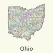 Ohio line art map - stock illustration