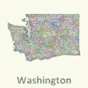 Washington line art map - stock illustration