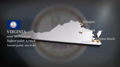 3D animated Map of Virginia Stock Footage