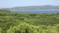 4K Pan right tropical beach exotic place Skiathos Island tourism attraction icon Stock Footage