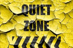 Grunge cracked Quiet zone sign - stock illustration