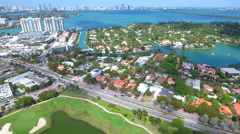 Aerial panoramic Miami Beach Stock Footage