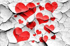 Grunge cracked Hearts love background - stock illustration