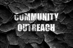 Grunge cracked Community outreach sign - stock illustration