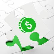 Money concept: Dollar Coin on puzzle background - stock illustration