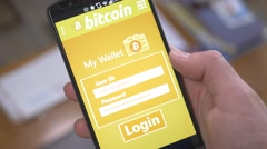 4K Login in Bitcoin Mobile Wallet on Smartphone Application - stock footage