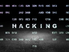 Security concept: Hacking in grunge dark room Piirros