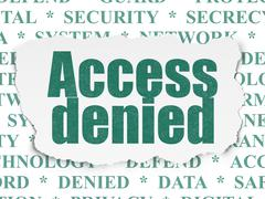 Privacy concept: Access Denied on Torn Paper background - stock illustration