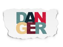 Security concept: Danger on Torn Paper background Stock Illustration