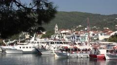 4K Tourist cruise marine transportation Skiathos Island downtown cityscape day   Stock Footage