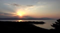 4K Timelapse sun silhouette sunrise sunset exotic island Skiathos destination  Stock Footage