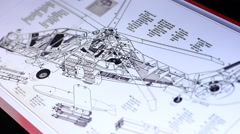 Technical drawing of helicopter on touch screen computer Stock Footage