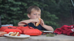 Young boy eating a hot dog - stock footage