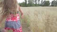 Kids Running Through Field On Farm - stock footage