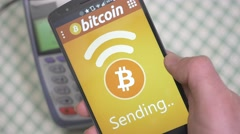4K Paying With Bitcoin on Smartphone at Restaurant Stock Footage