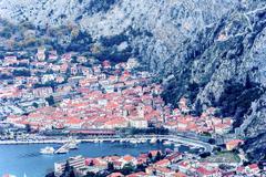 Kotor old town and Boka Kotorska Bay in the early morning, Montenegro Stock Photos