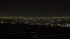 Downtown Los Angeles at night - WIDE (GRADED) Stock Footage