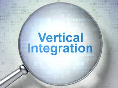 Finance concept: Vertical Integration with optical glass Stock Illustration