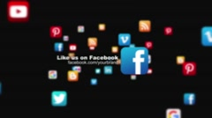 Dark Social Media Icons Fly through Business Corporate Logo Reveal Promo Intro - stock after effects