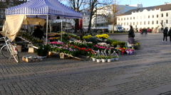 Selling flowers on the town square Stock Footage