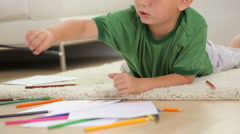 Boy coloring Stock Footage