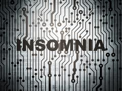 Health concept: circuit board with Insomnia - stock illustration