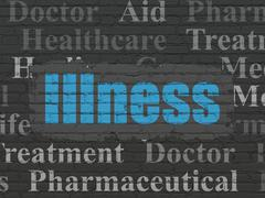 Medicine concept: Illness on wall background Stock Illustration