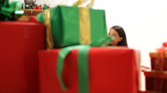 Portrait of family celebrating Christmas - stock footage