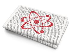 Science concept: Molecule on Newspaper background Stock Illustration